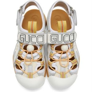 GUCCI Tinsel Sport Sandal in White and Tan NWT